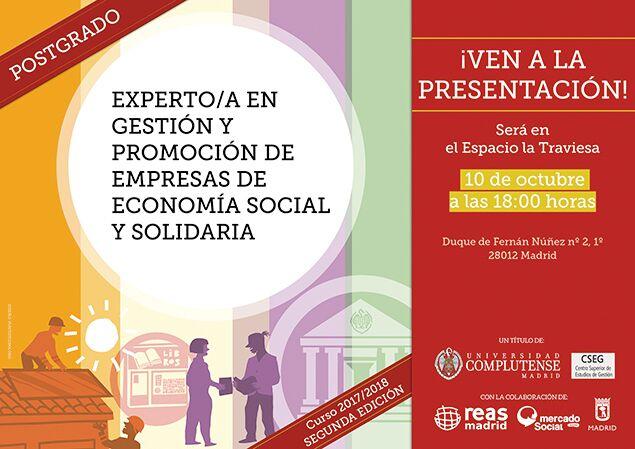 PostgradoExperto/a en Gestión y Promoción de Empresas de Economía Social y Solidaria,de REAS Madrid