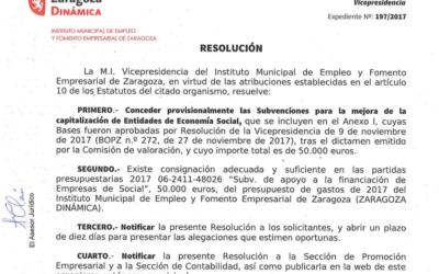 Publicada la concesión provisional de las Subvenciones para la mejora de la capitalización de las Entidades de ESS