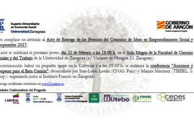 """El Posgrado de Economía Social organiza la conferencia """"Asociarse y Cooperar para el Bien Común"""" y la entrega de premios del Concurso de Ideas"""