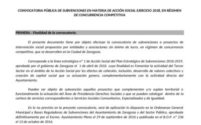 Convocadas las subvenciones en materia de Acción Social 2018