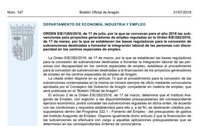 Subvenciones para fomentar la integración laboral de personas con discapacidad en centros especiales de empleo