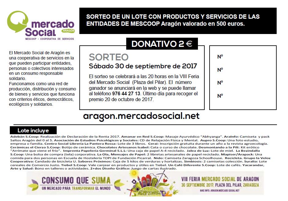 Sorteo de un lote con productos y servicios de MESCoop Aragón valorado en 500 euros.