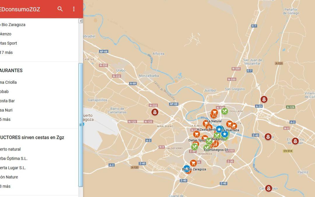 Mapa de puntos de venta y consumo de producto ecológico en Zaragoza