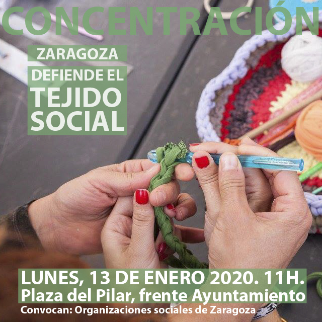 Por el tejido social de Zaragoza: concentración lunes 13 de enero, 11h, pza. del Pilar